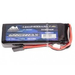 Arrowmax 2400mAh 2S 7.4v LiPo TX/RX battery pack