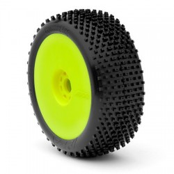 Pre-Mounted Crossbrace 1/8 Buggy w/EVO Wheel & Red Insert (Soft) (Yellow) (2)
