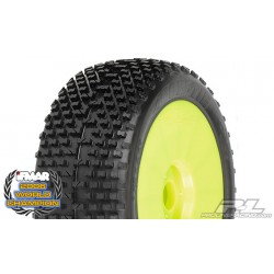 Pro-Line Pre-mounted Bow-Tie tires, M3 Soft Mounted on V2 Yellow Wheels